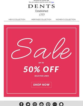 Sale now on! Up to 50% off