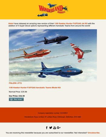 Italeri Hawker Hunter F.6/9 Aerobatic Teams Kit