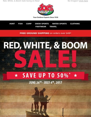 Shop Great Savings at Joe's during the Red, White, & Boom Sale!
