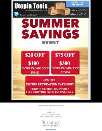 Utopia Tool's Summer Savings Event !