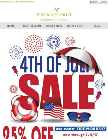 Aromafloria: 4th July 25% OFF Sale