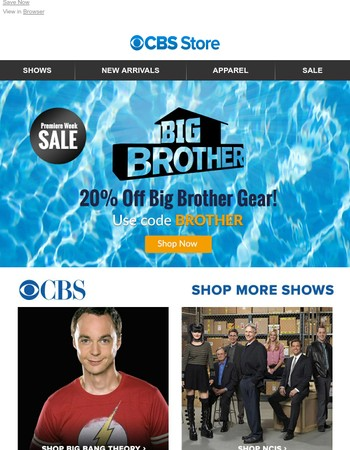Celebrate the Premiere of Big Brother with 20% Off