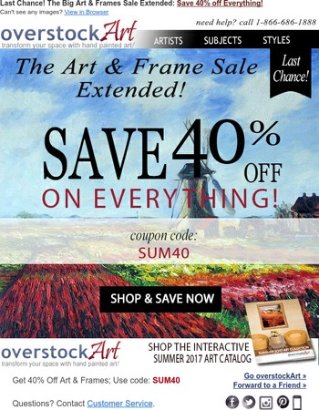 Last Chance: The Art & Frame Sale Extended!