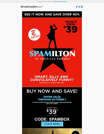 """See the """"convulsively funny"""" hit musical Spamilton from $39!"""
