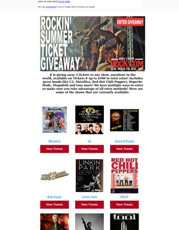 Rock.com Now Has Concert Tickets to Coldplay, Korn, Bob Seger, U2 and More, Plus Ticket Giveaway!