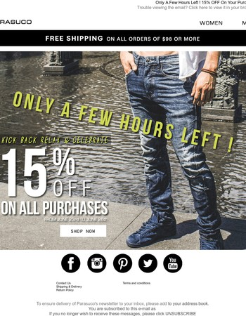Only A Few Hours Left ! 15% OFF On Your Purchase