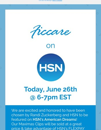 FICCARE ON HSN - TODAY @ 6-7pm (EST)