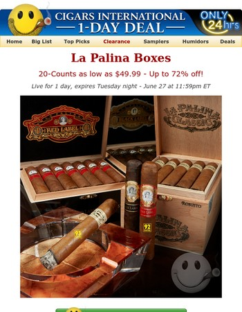 First time. Only time. 93-rated La Palina boxes as low as $49.99?!