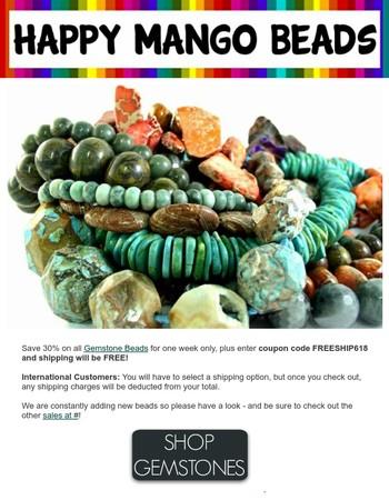FREE SHIPPING + 30% off Gemstone Beads