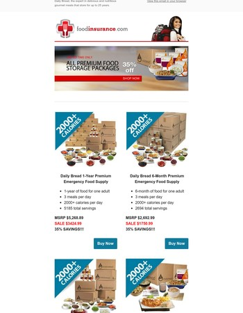 LAST WEEK To Take 35% off ALL PREMIUM Food Storage Packages! Take Advantage of This Limited Time Offer. Don't Miss Out!