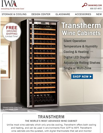 Free Shipping on Transtherm Wine Cabinets!