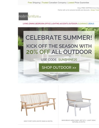 Kick Off Summer with 20% OFF All Outdoor Furniture!