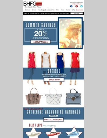 Summer Savings - Extra 20% off your order of $100 or more!