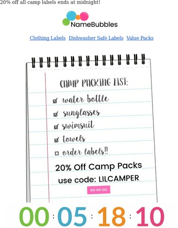 Final Hours! Don't forget to order labels for Camp!