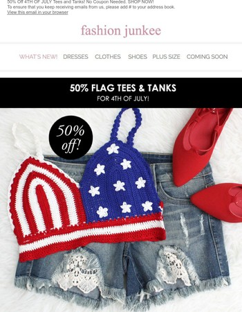 Red, White & Blue Sale! 50% OFF 4TH OF JULY TOPS!