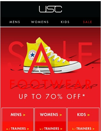 Don't miss out - Up to 70% OFF Footwear!