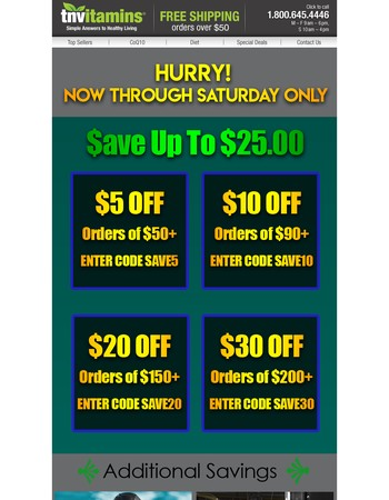 Save $5 - $30 Off Your Next Order!