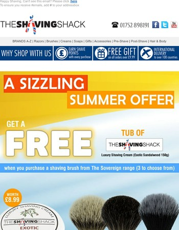 GET a free tub of shaving cream worth £8.99 on selected shaving brushes
