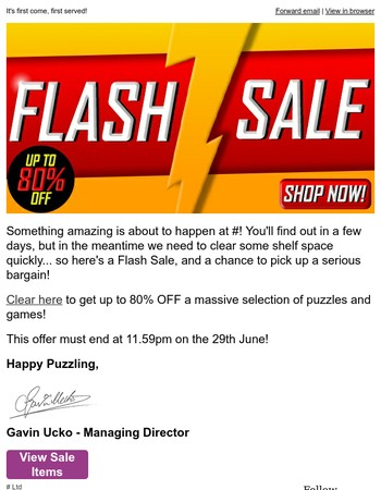 FLASH SALE! Up To 80% OFF! Only Two Days Left!