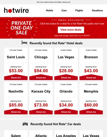 1-Day Hotel & Car Sale—private deals, exclusively for you