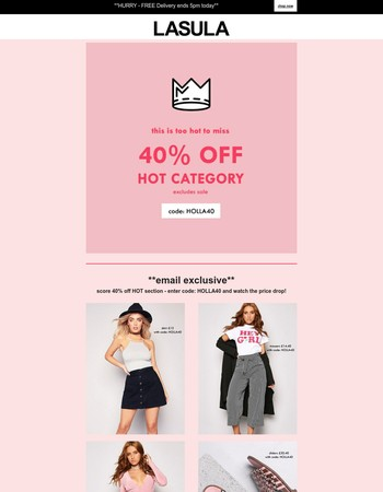 ENDS TODAY 3PM - 40% off HOT!