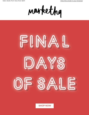 Final Days of Sale!