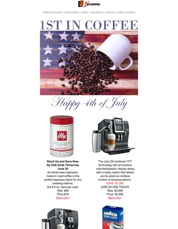 Happy 4th of July - Last day for illy sale