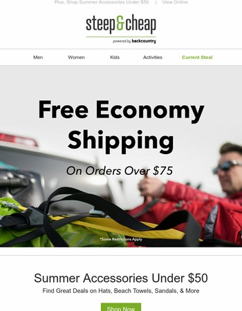 Free Economy Shipping for Steep & Cheap Orders Over $75!