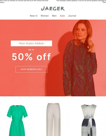 New lines added! Shop up to 50% off in our summer sale