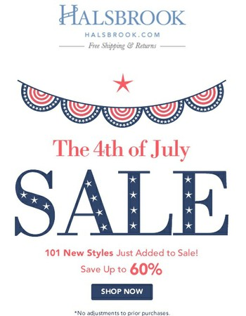 4th of July Sale | 101 New Sale Styles!