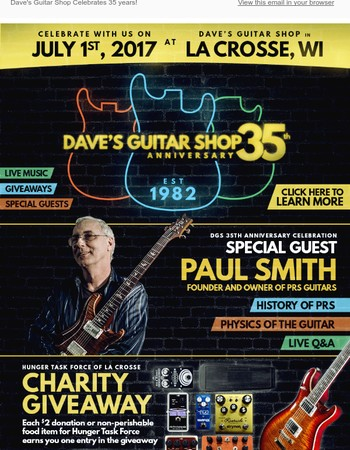 Dave's Guitar Shop 35th Anniversary and Giveaway!