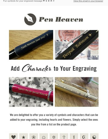 Add Character to Your Engraving + Further Offers on Parker