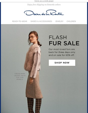 Exclusive Fur Event: 65% Off, 3 Days Only