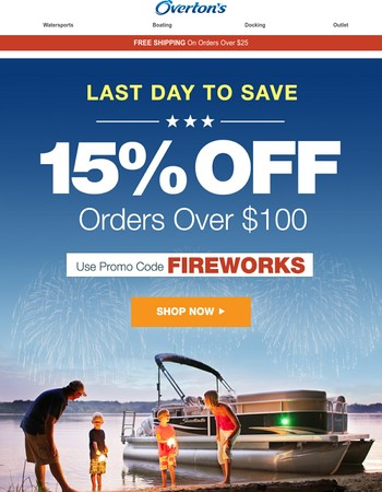 Final Day - 15% Off With Promo Code FIREWORKS!