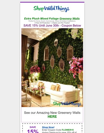 BRAND NEW! Greenery Walls + 15% Off Ending!