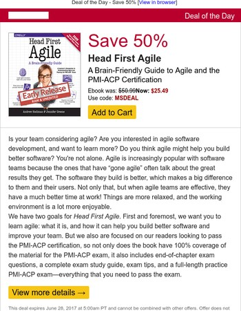 Deal/Day: Save 50% - Head First Agile