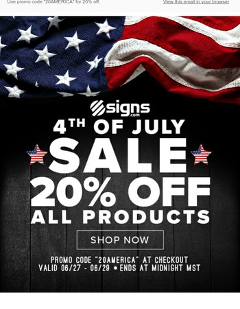 20% Off All Signs.com Products!