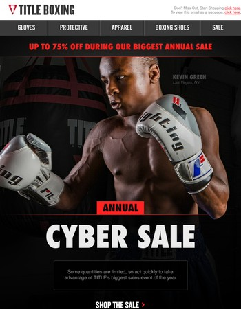 It's time! Our Annual TITLE Boxing Cyber Sale is here.