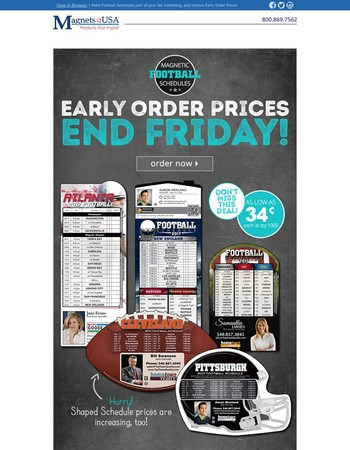 Ends Friday: Early Order Prices on Football