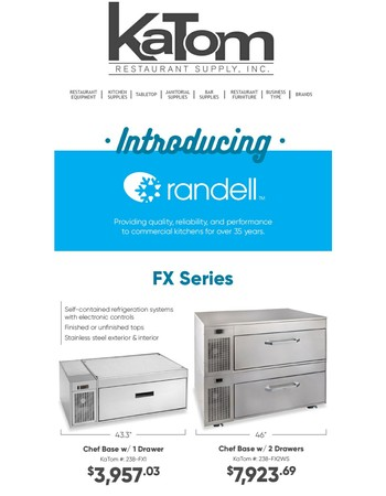 Introducing Randell! From Prep Tables To Blast Chillers, As Low As$615.23