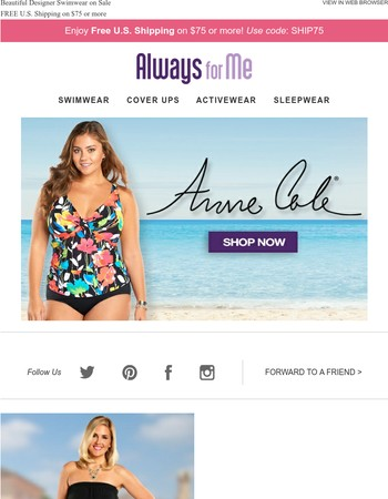 Up to 30% OFF Anne Cole Swimwear + Free Shipping