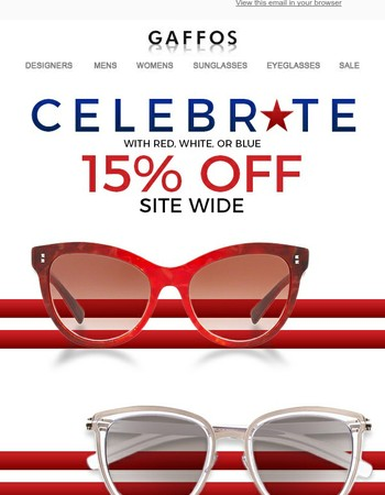 4th of July Sale - 15% off All Eyeglasses and Sunglasses