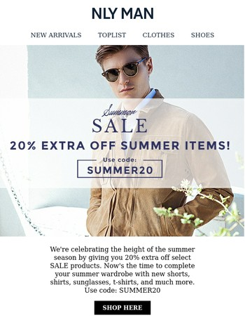 20% extra off summer items on sale!