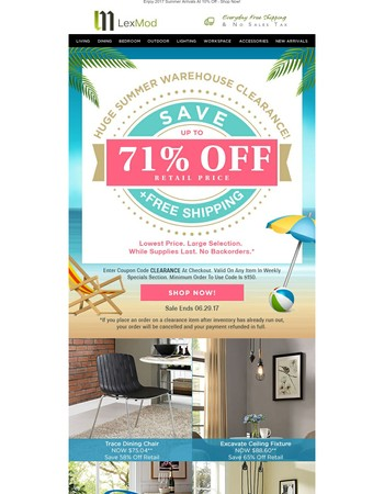 Huge Summer Warehouse Clearance! Up To 71% Off Retail + Free Shipping
