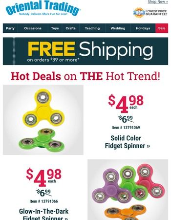 New Fidget Spinners Under $5 + Get Free Shipping