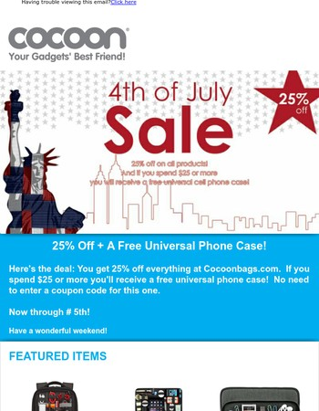 25% Off + A Free Universal Phone Case!