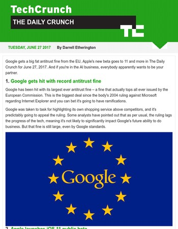 Google faces record EU antitrust fine. It's The Daily Crunch.
