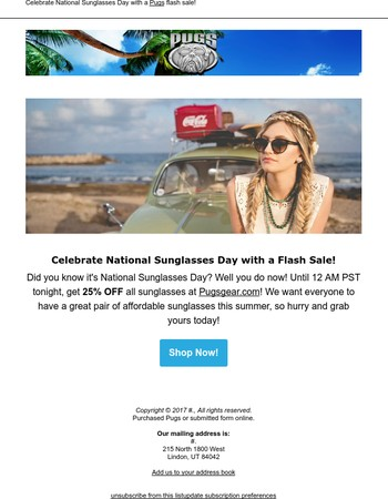 Happy National Sunglasses Day! 25% Off Until Midnight!