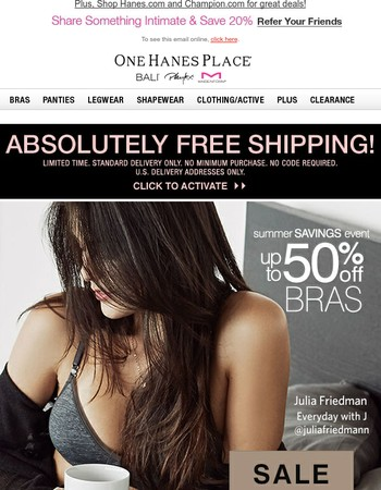 Playtex Bras up to 50% Off + Ship FREE!