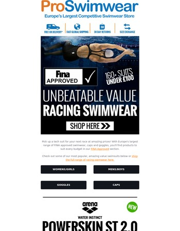 Shop Our Amazing Range Of Performance Suits, All At The Best Prices!